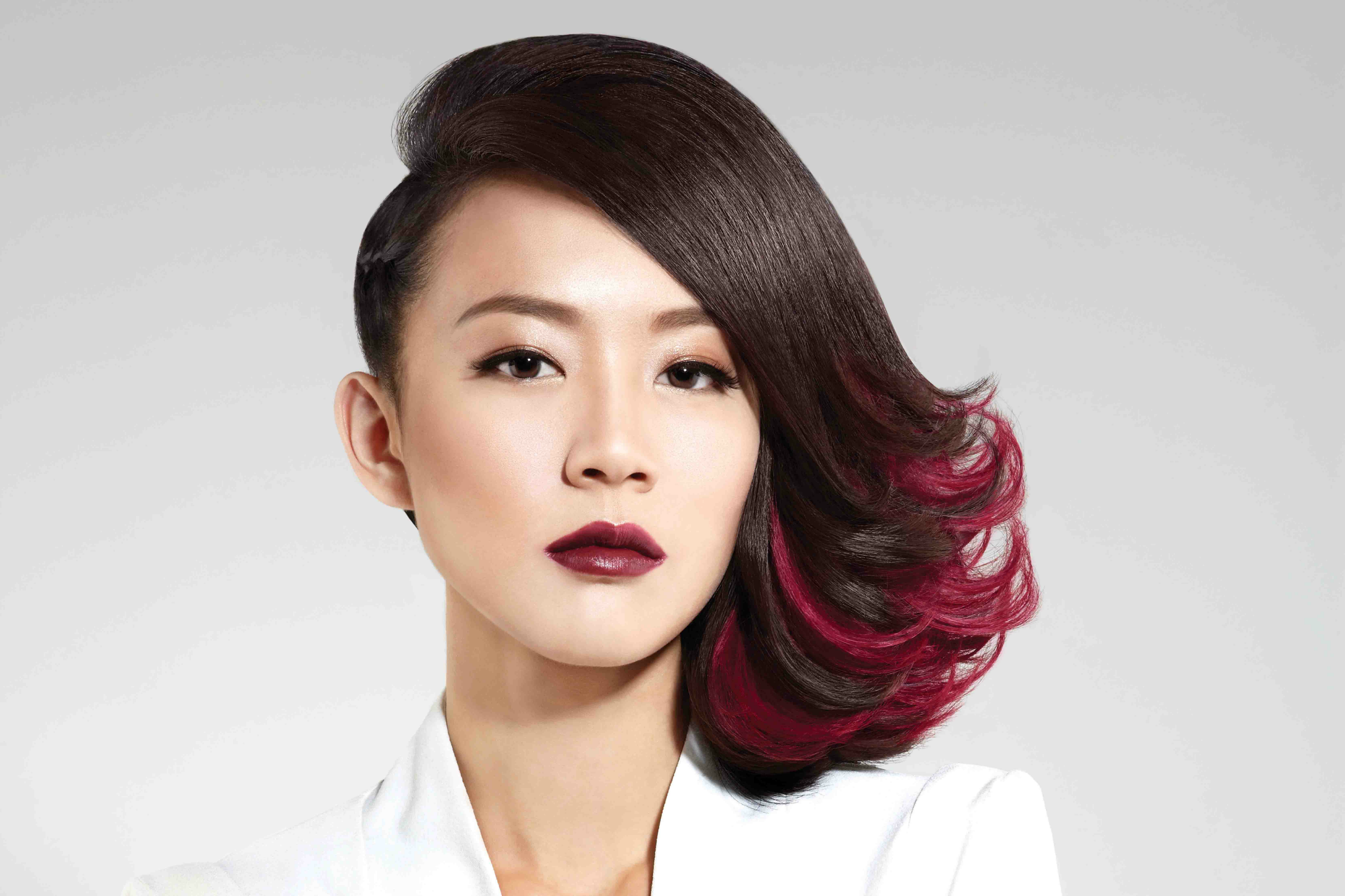 Julie Tan - Side-Swept Red Ombre A