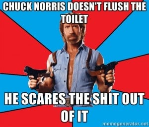 Chuck Norris Scares the Shit Out Of A Toilet