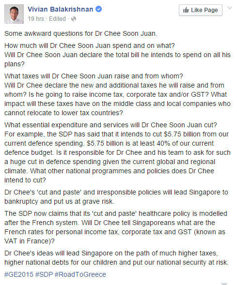 Vivian Balakrishnan facebook post