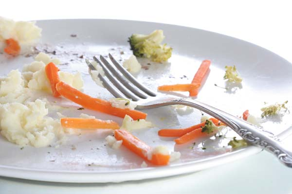 left over dinner on plate with fork, close up