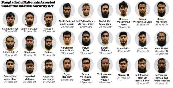 bangla_foreigners_radicalised_singapore_detain_deported_ISA_terrorist_extremist_ideology_teachings_religious