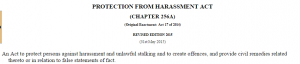 MINDEF_protection from harrassment act_definition