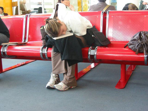 uncomfortable naps airport