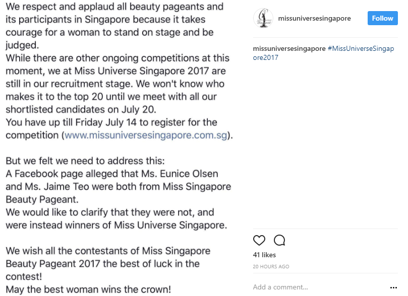 Miss Universe Singapore Says It's Not Affiliated To Vilified