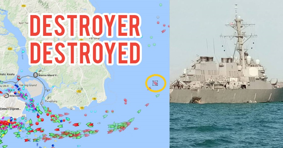 US Destroyer Collides With Oil Tanker In Singapore Waters, SAF