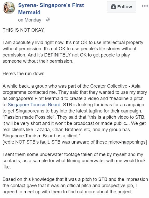 Singapore Mermaid Alleges Identity & Videos Stolen By