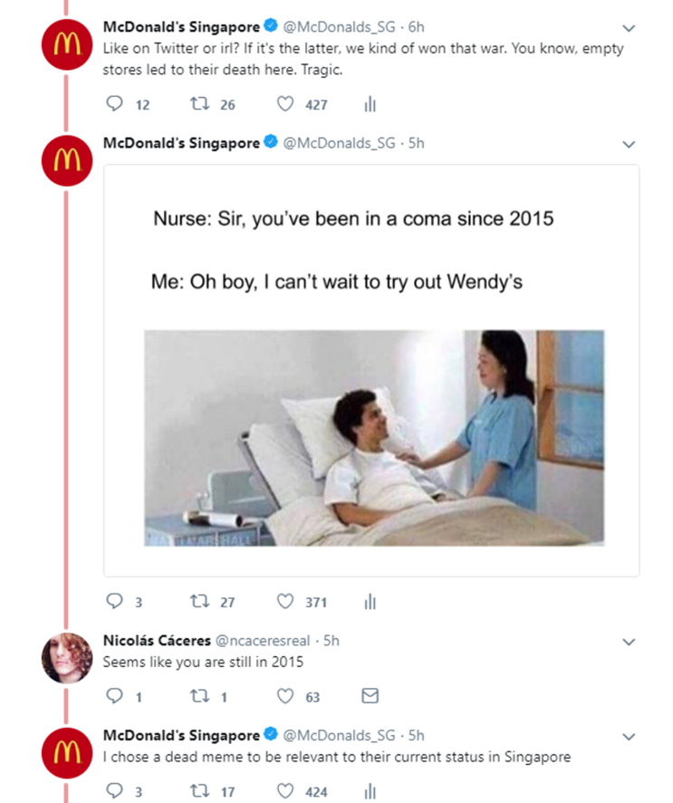 Fake McDonald's Singapore Account Took Shots At Wendy's On
