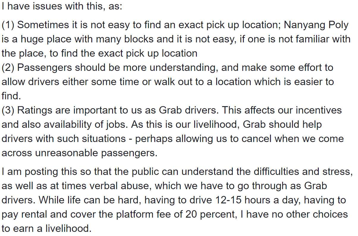 Grab Driver Calls For More Understanding After Pick-Up Drama