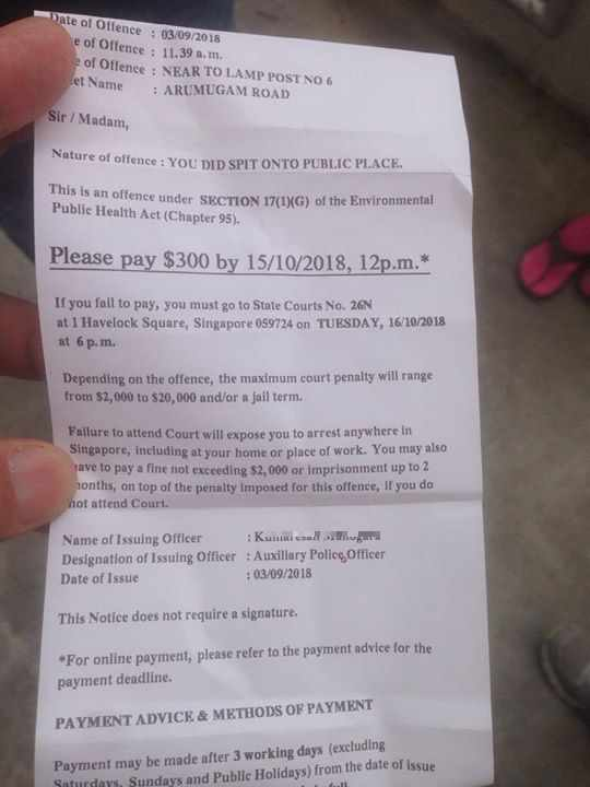 Man Who Spit Near A Lamp Post Booked In Hilariously Specific Ticket