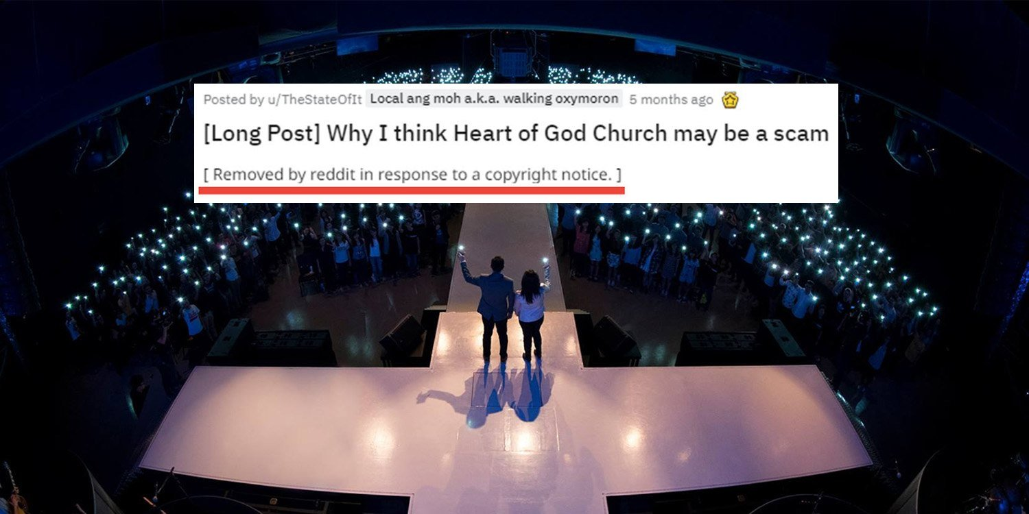 Heart Of God Church Reddit Post Removed Due To 'Copyright