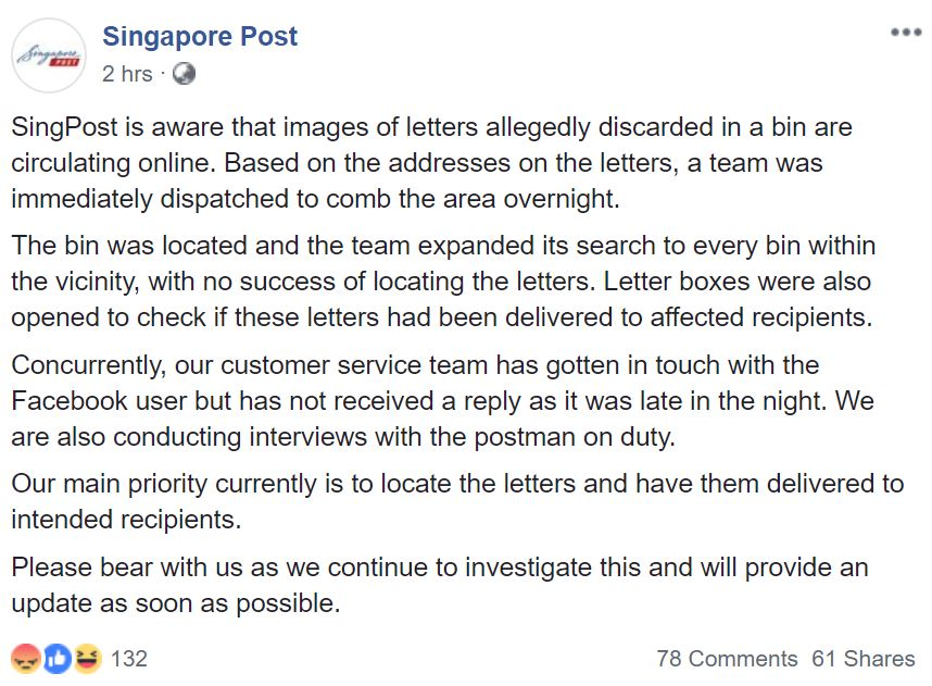 SingPost Apologises For Ang Mo Kio Letters In Bin & Is Locating Owners