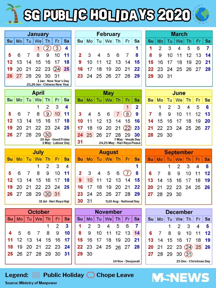National Holidays 2020 Calendar Hack Singapore Public Holidays In 2020 By Using 11 Days Of Leave