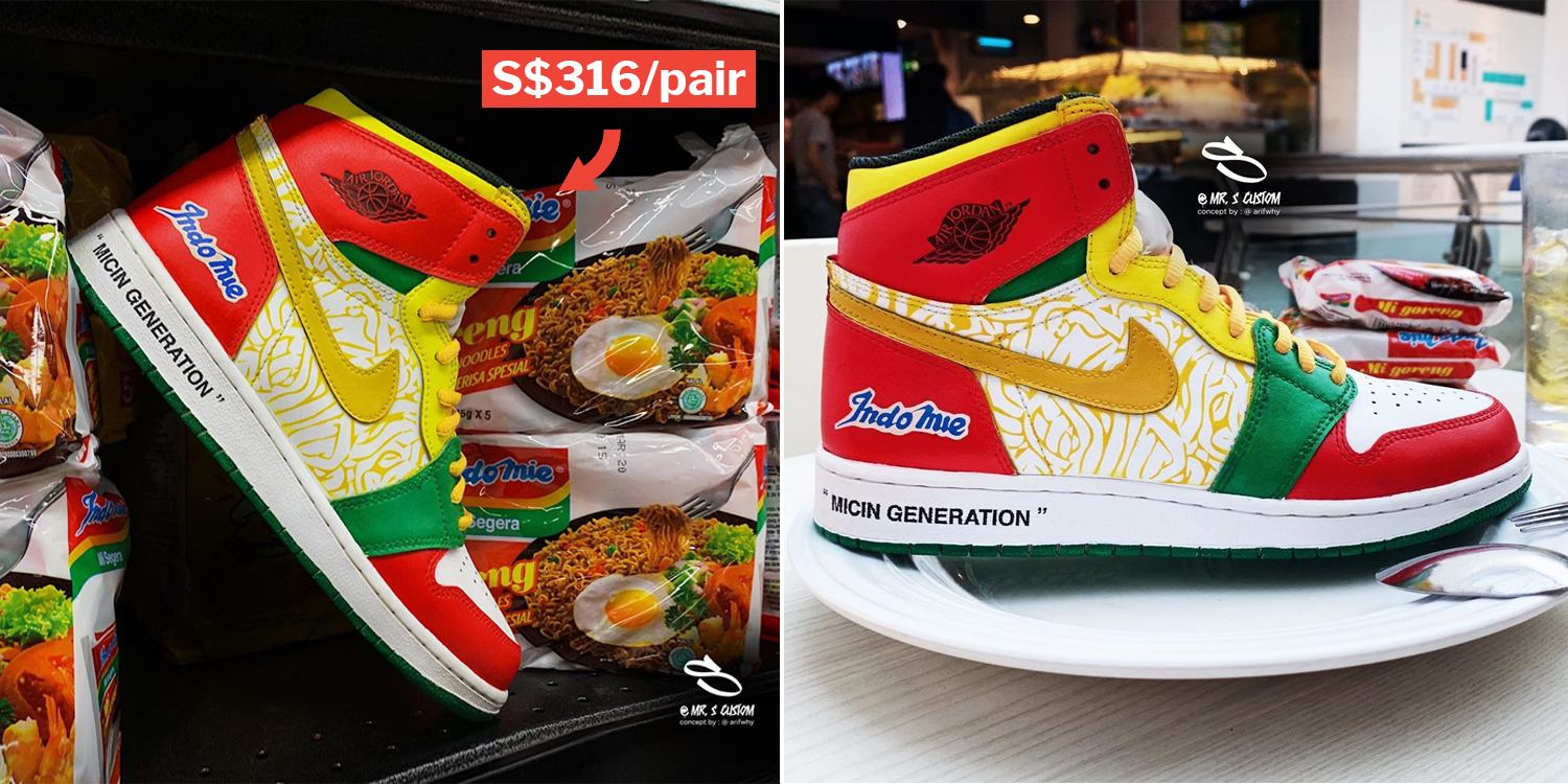 new style 41df7 468a5 Indomie Air Jordan Shoes By S pore Artist Are Every Instant Noodle Fan s  Dream Sneakers
