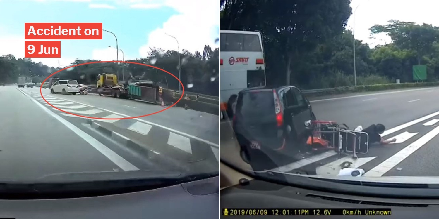 SCDF & Police Officer Attend To PIE Accident