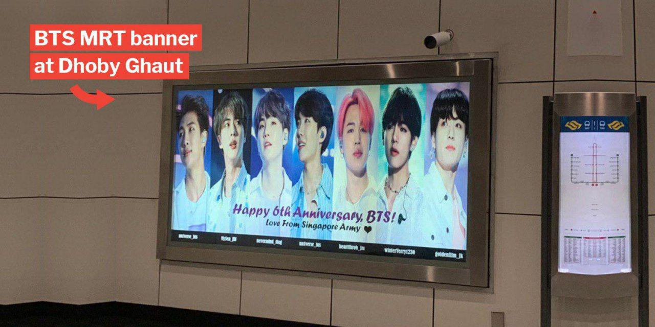 S'pore BTS Fans Buy Dhoby Ghaut MRT Banner To Prove Their