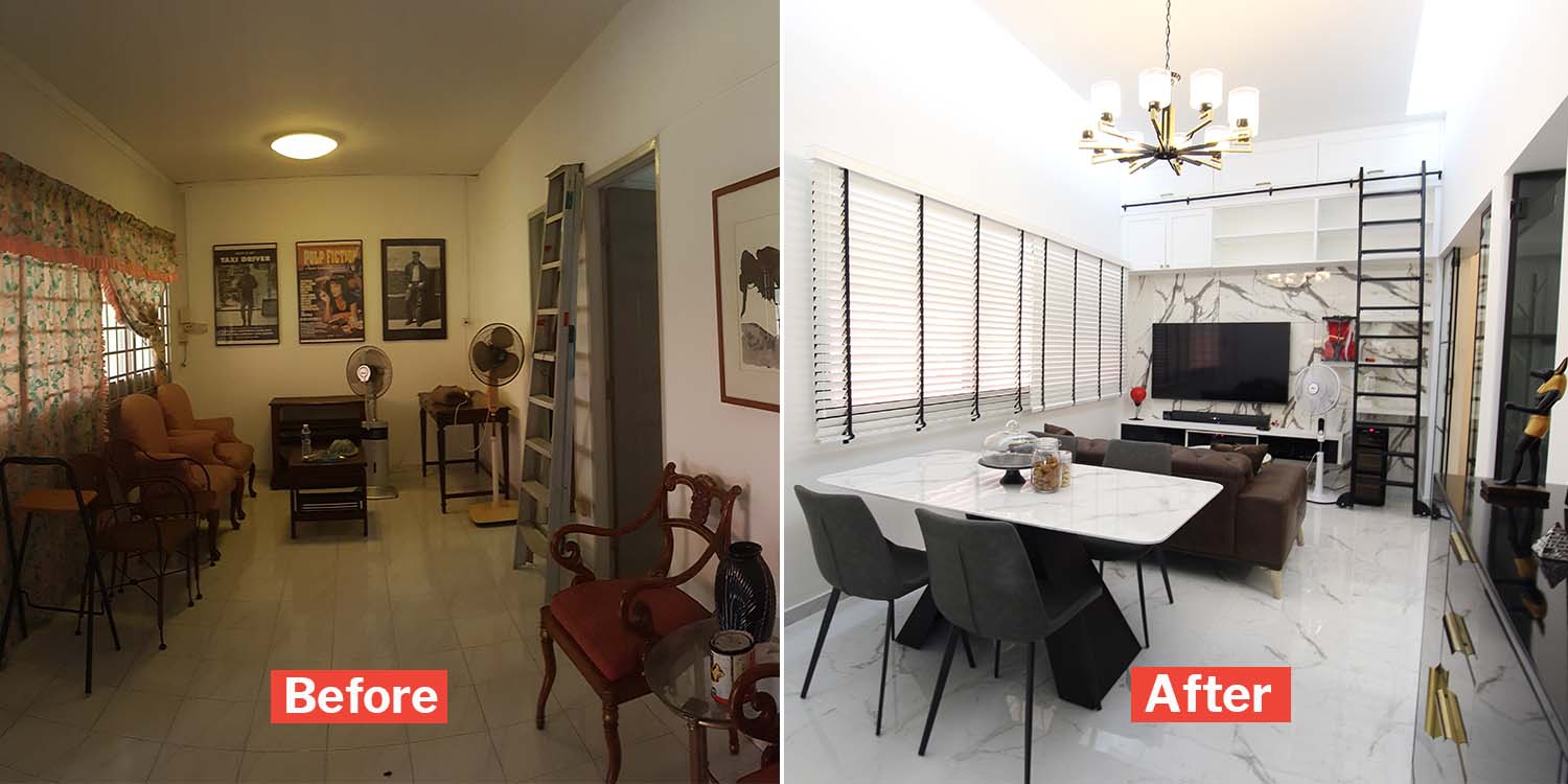 Couple Turns Old 315k Bishan Hdb Into A Modern B W Beauty With 4 9m High Ceiling