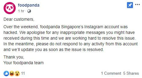 Foodpanda Instagram Account Gets Hacked, All Photos Deleted Except One