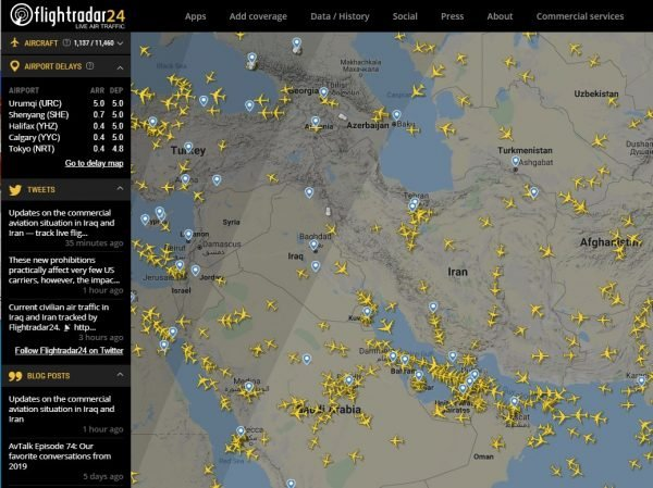 Iranian Airspace Diversions