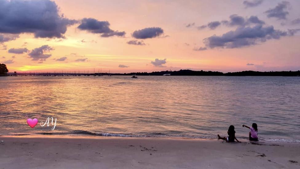 Amber skies over beach