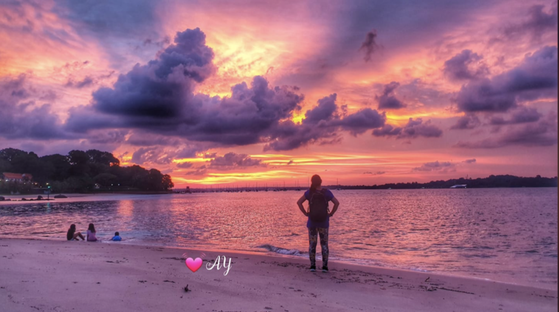Amber sunset at beach