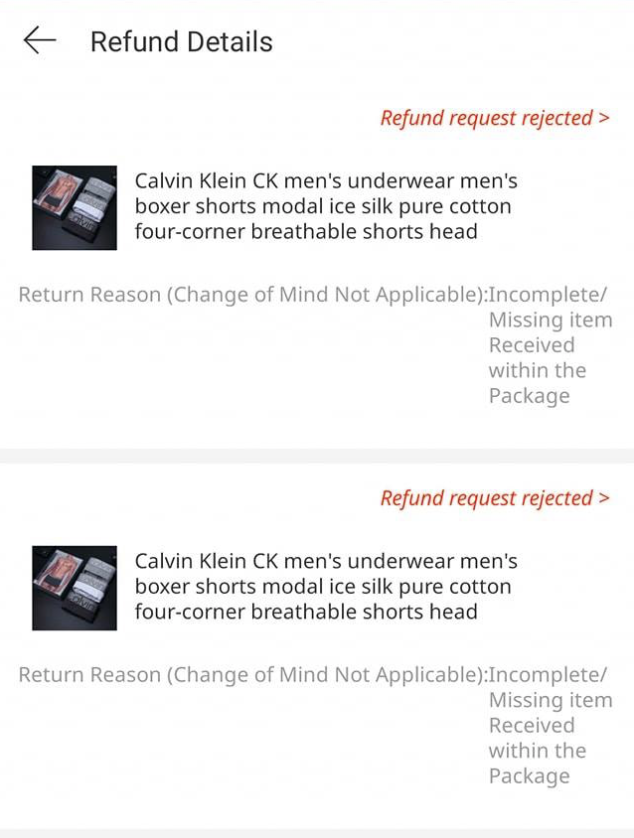 Calvin Klein imitation refund request