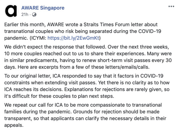 AWARE Facebook post about ICA travel ban