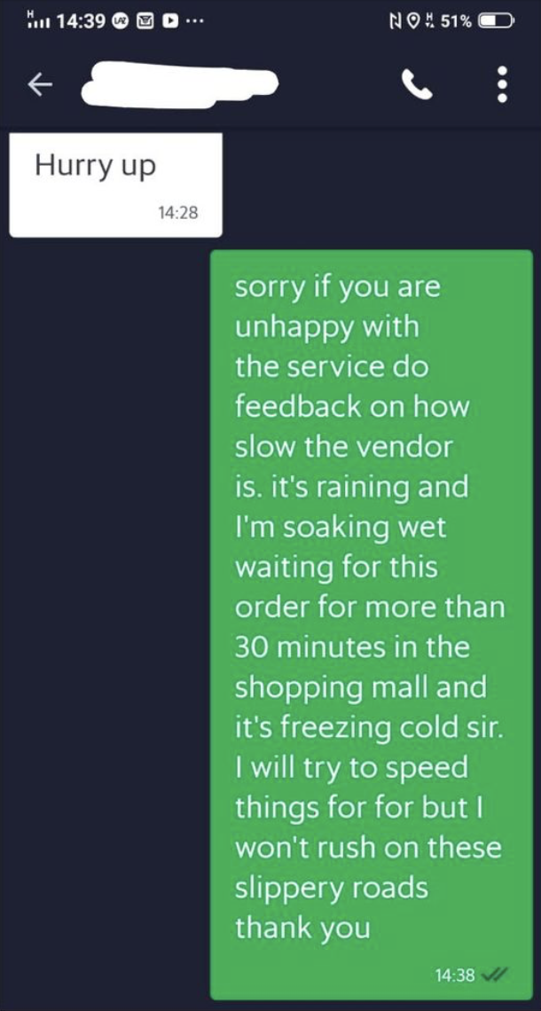 Rider's response to Grabfood customer