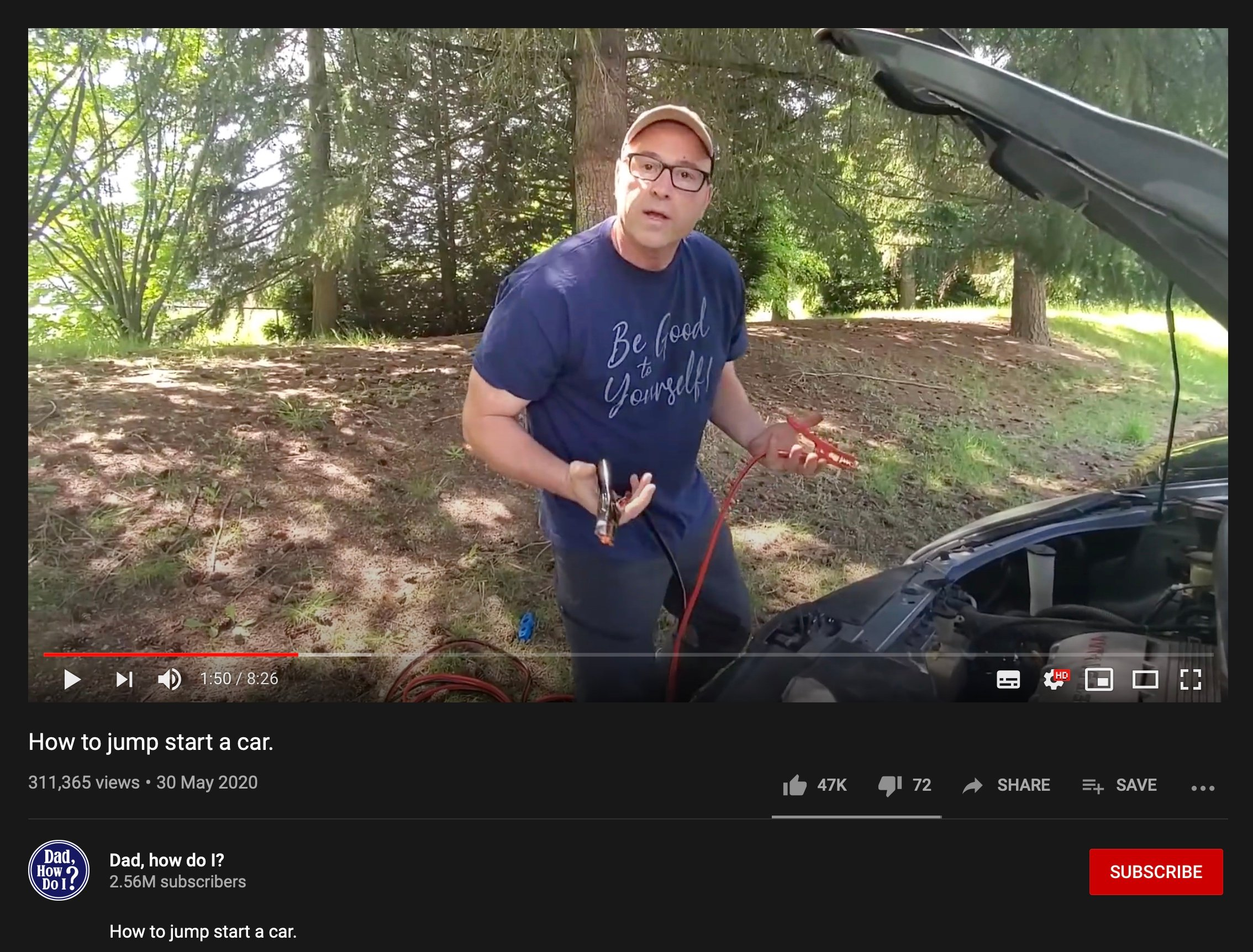 Youtube father jumpstarting car