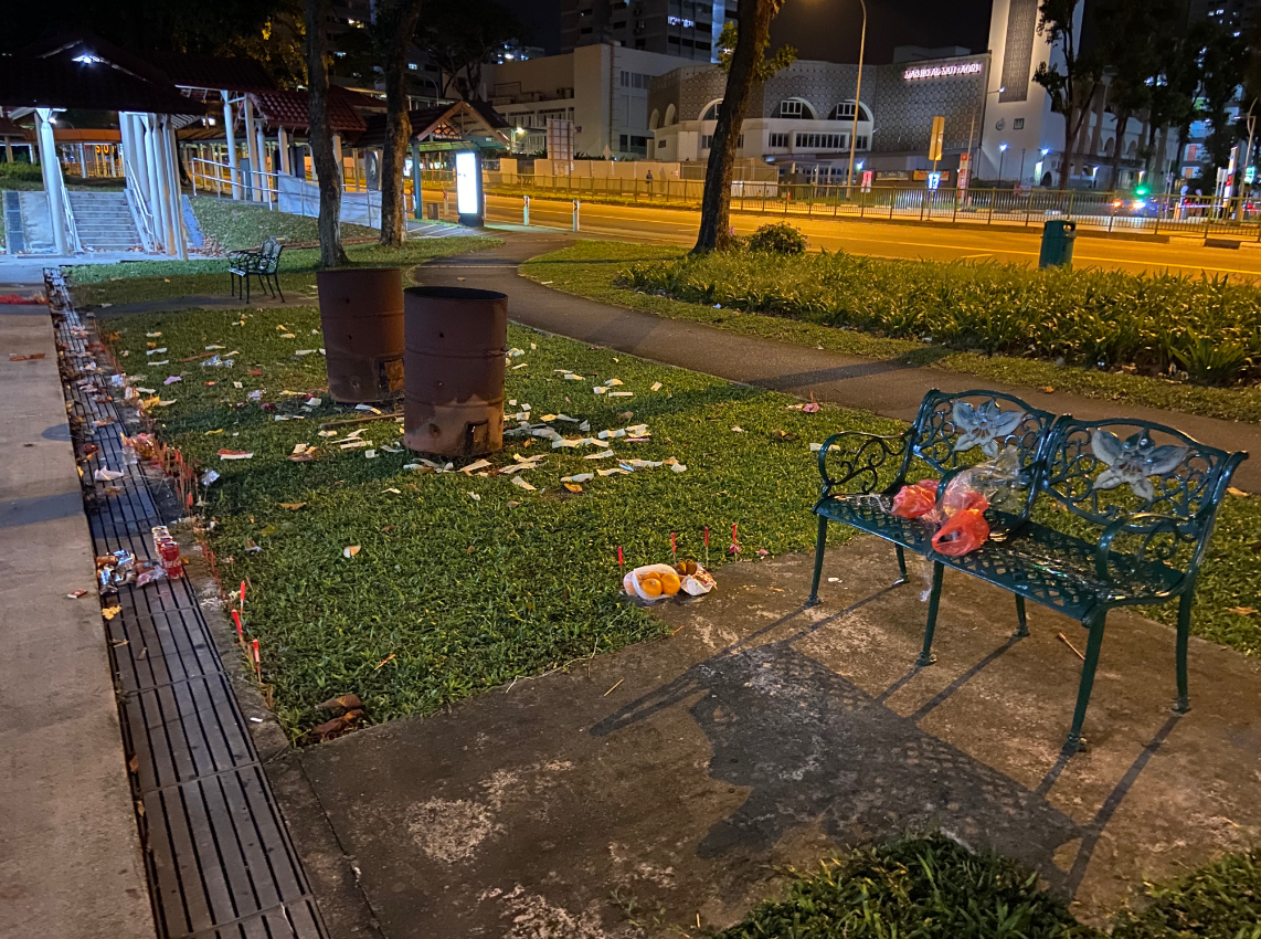 Plastic bags on benches