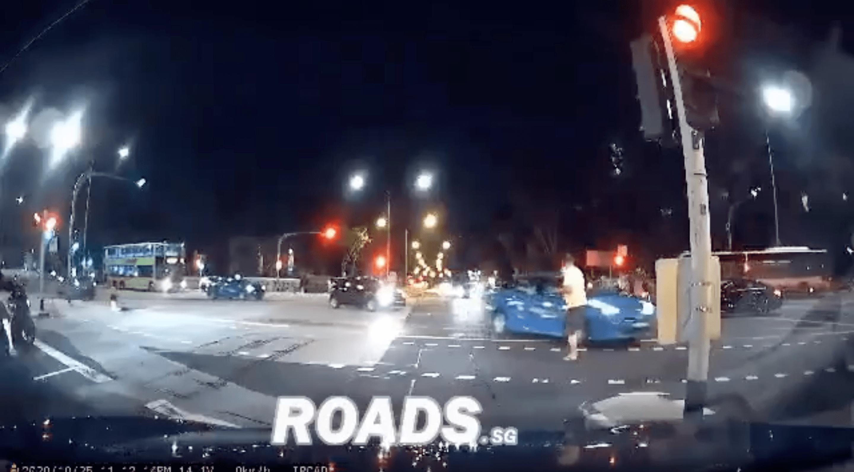 pedestrian kicks taxi