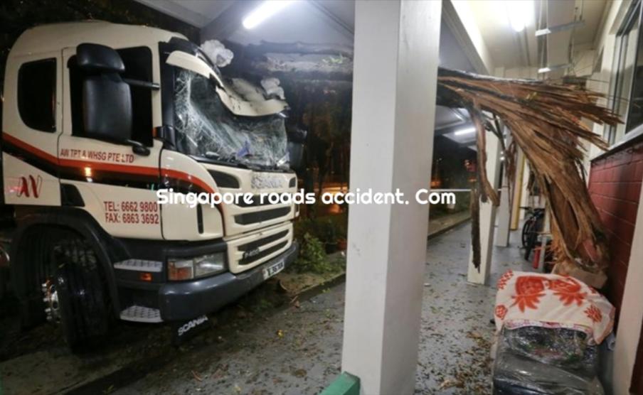 Vehicles crash into HDBs