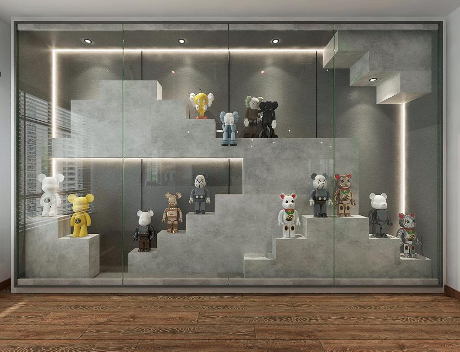 glass showcase kaws