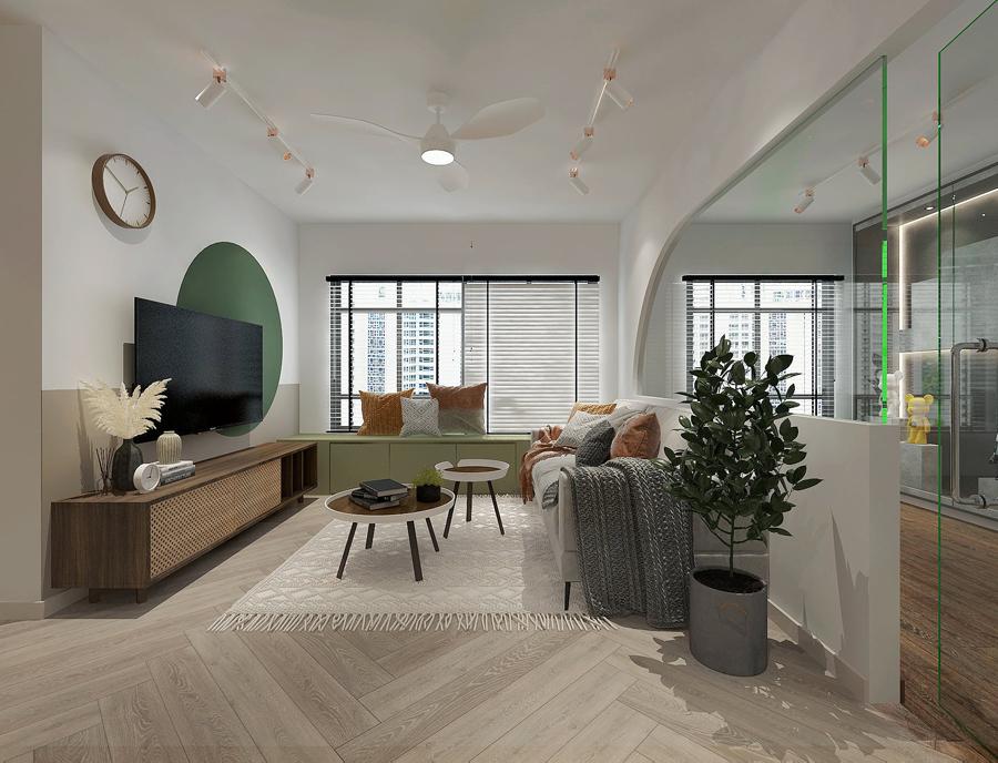 bto glass showcase living room