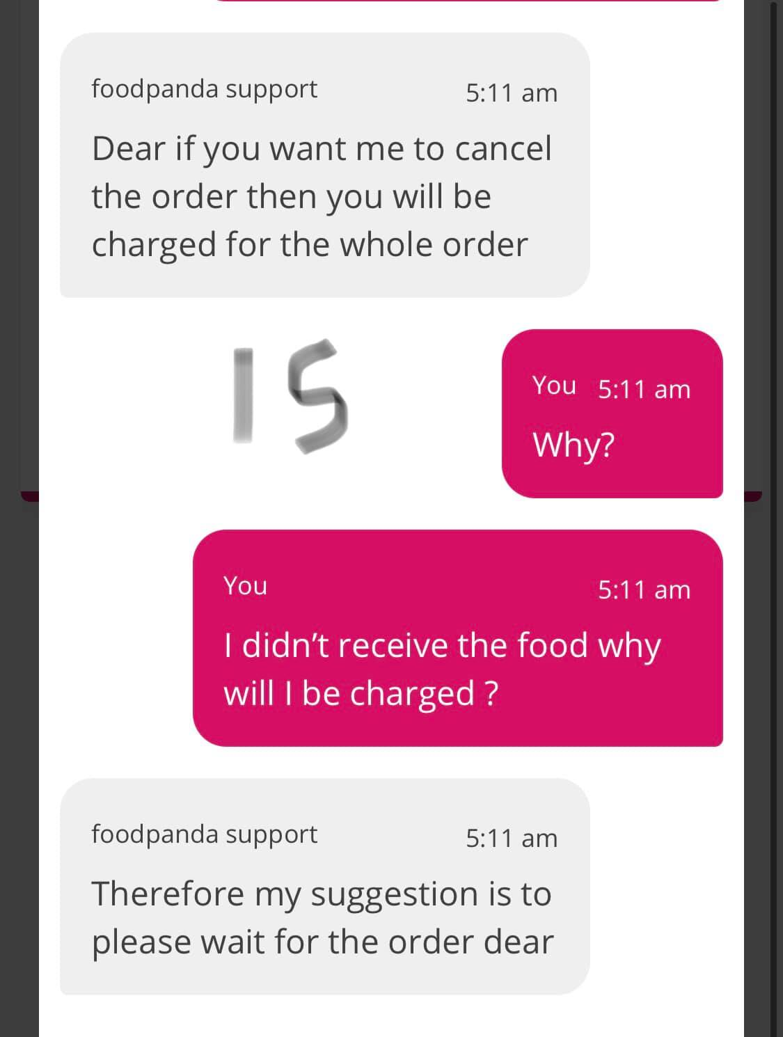 foodpanda order cancelled