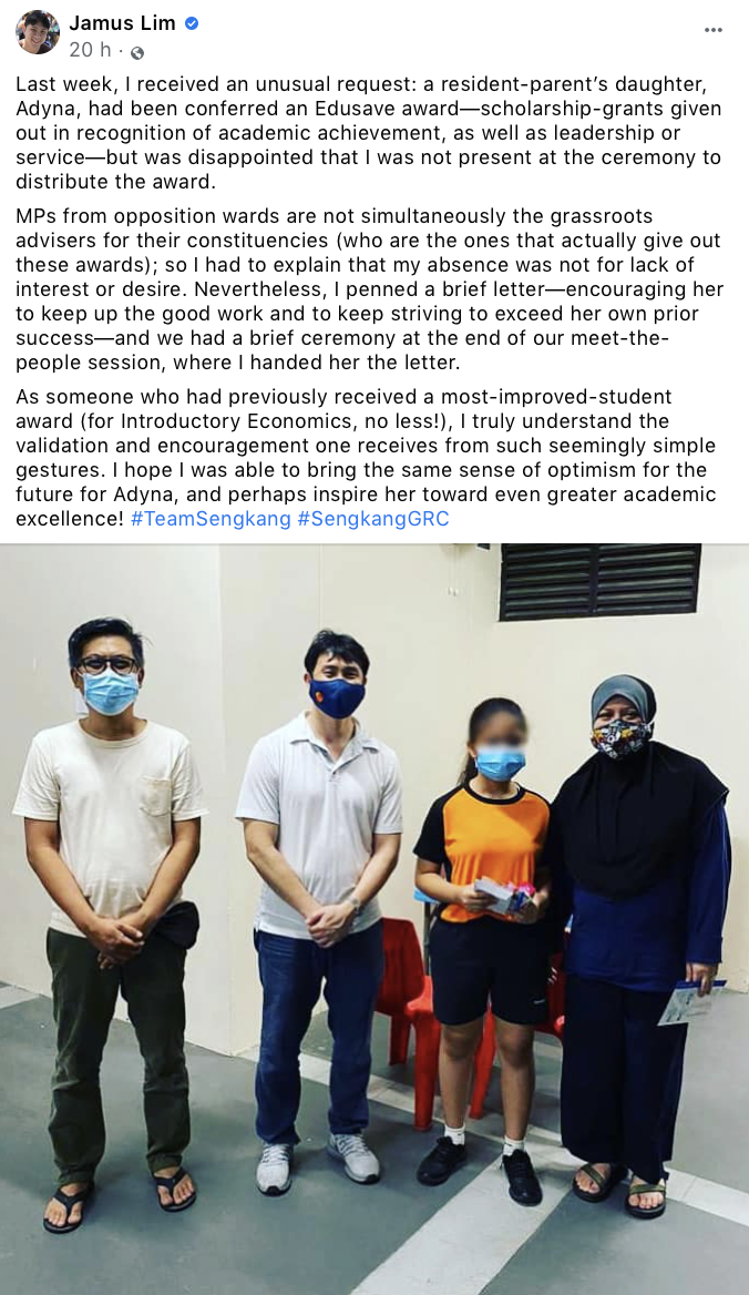 Jamus Lim Facebook Post