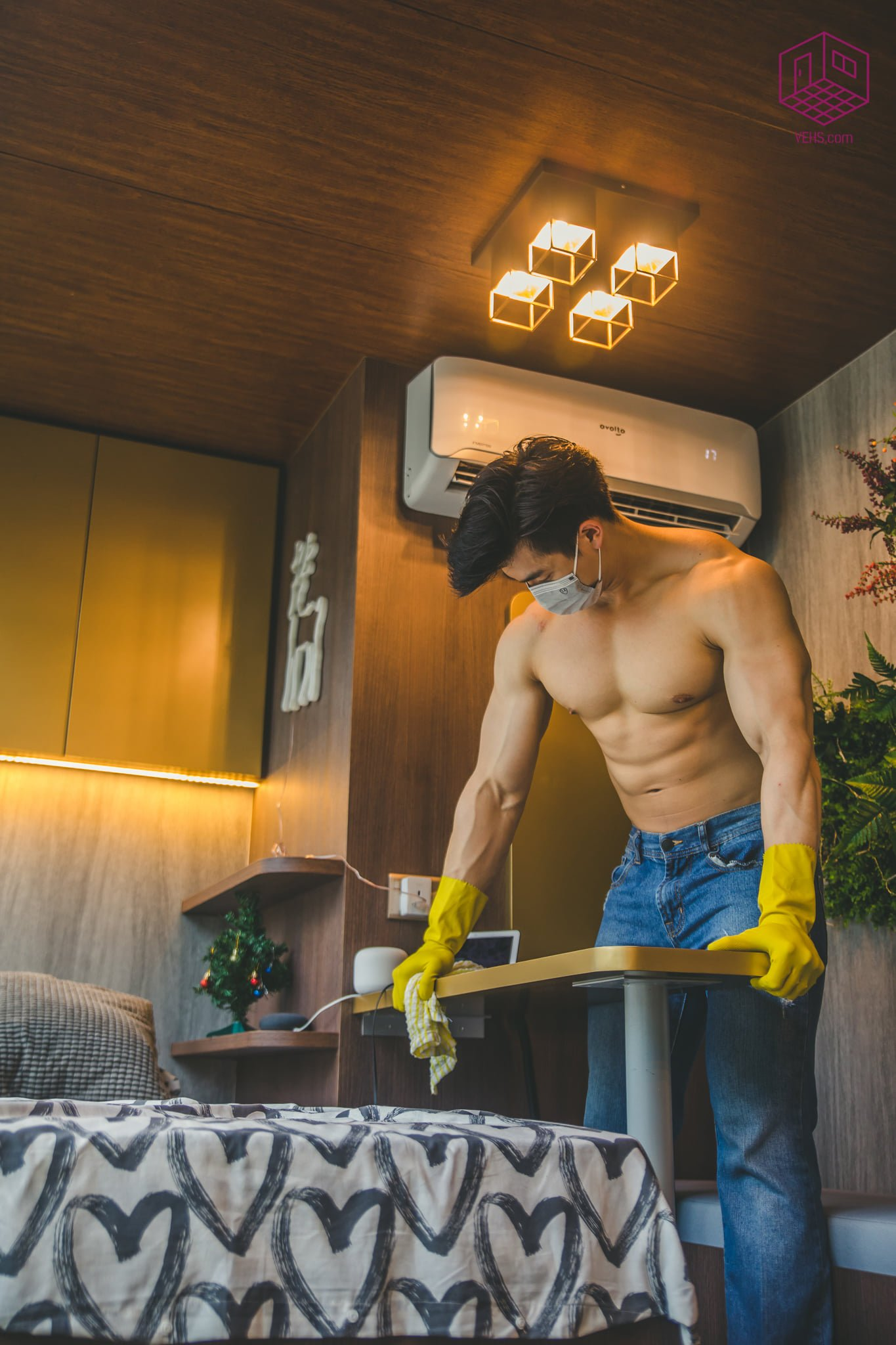 Hunky men cleaning service