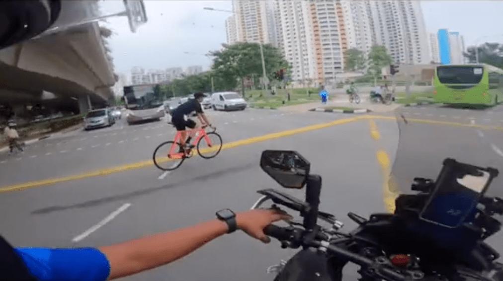 motorcyclist advises cyclist