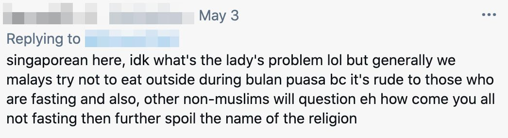 S'pore Lady Scolds Muslim Women For Eating At Hawker Centre In Ramadan, Netizens Say It's Unnecessary