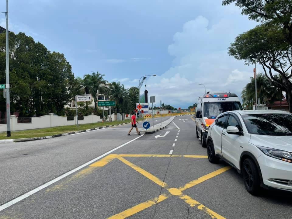 car hits motorcycle bedok