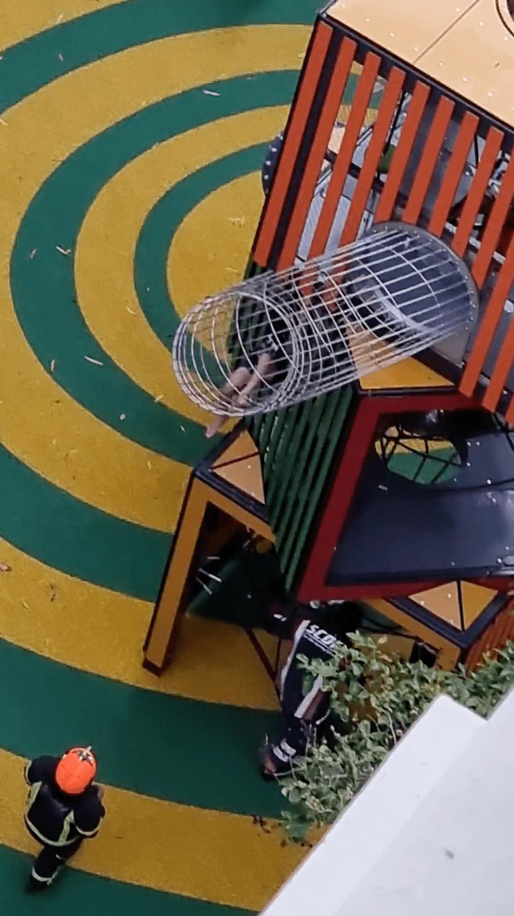 leg stuck playground