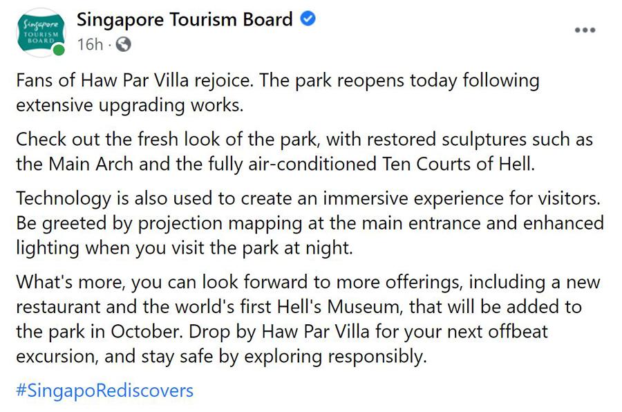 Haw Par Villa reopens